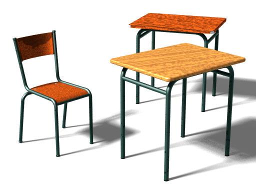 Classroom furniture (POV-Ray)