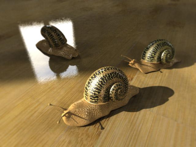 Snails (POV-Ray)