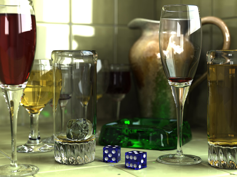 Glasses, pitcher, ashtray and dice