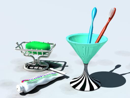 Toilet accessories (POV-Ray)