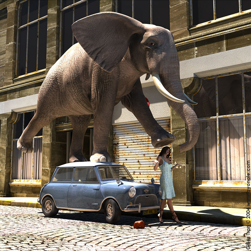 Power #6: making elephants stand on Mini Coopers